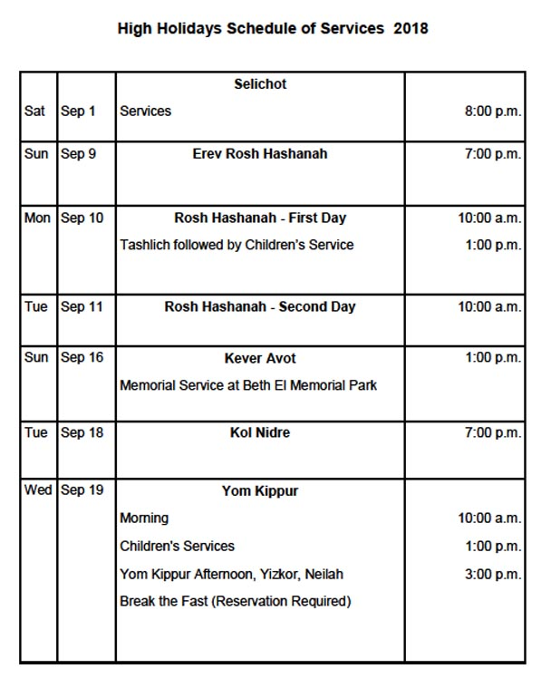 2018 High Holidays Schedule of Services
