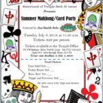 MahJong/Card Party, July 9, 2019 at 11:30 a.m.