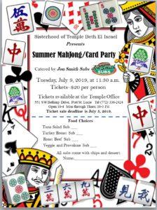 MahJong/Card Party, July 9,2019, at 11:30 a.m.