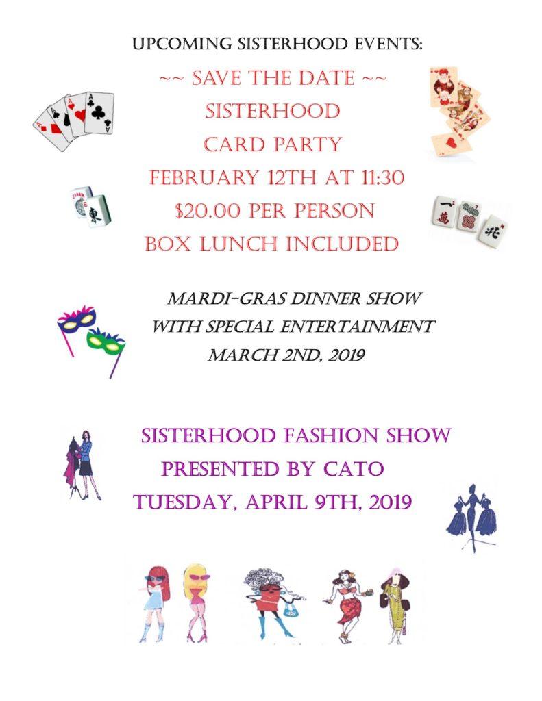 Upcoming Sisterhood Events