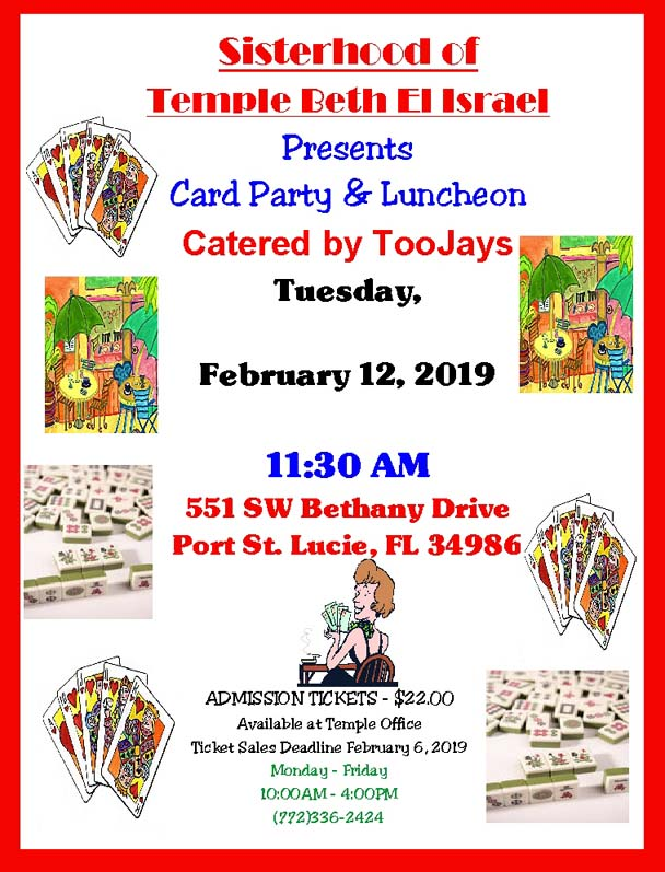 Sisterhood Card Party Feb 12 2019