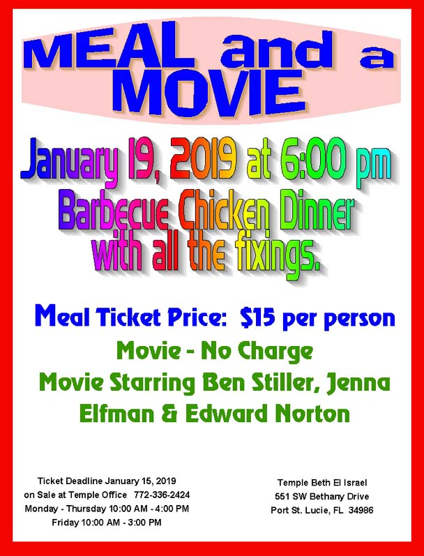 Meal and Movie January 19, 2019