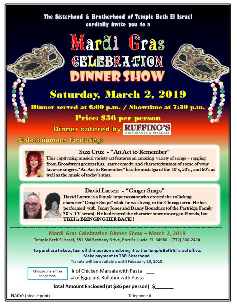 Mardi Gras Celebration and Dinner Show March 2, 2019
