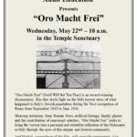 Adult Ed--Oro Macht Frei, May 22, 10 a.m.