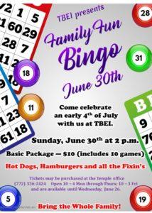 Family Fun Bingo June 30, 2019 2 pm
