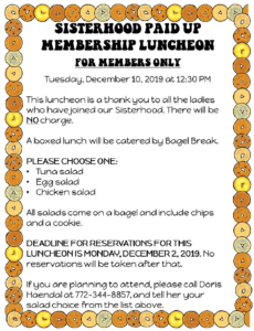 Sisterhood Paid-up Membership Luncheon 12 10 2019