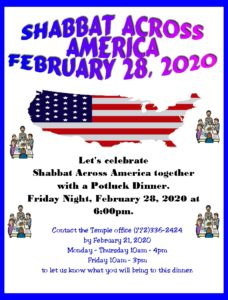 Shabbat Across America 2/28/2020