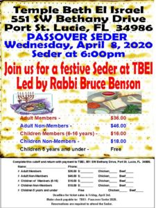 Passover Seder, April 8, 2020