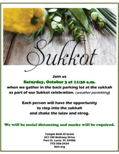 Sukkot--Saturday, October 3, 11:30 a.m.
